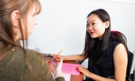 Student speaking to an advisor