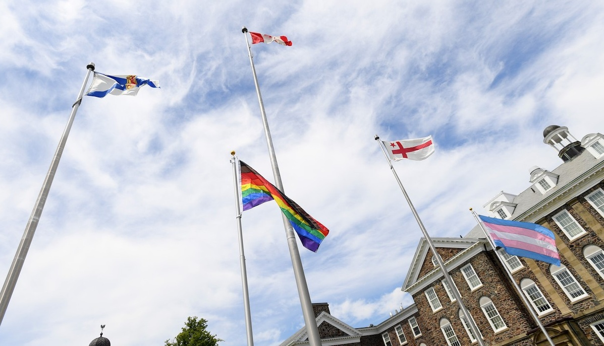 Flags flying on the Dalhousie Studley campus