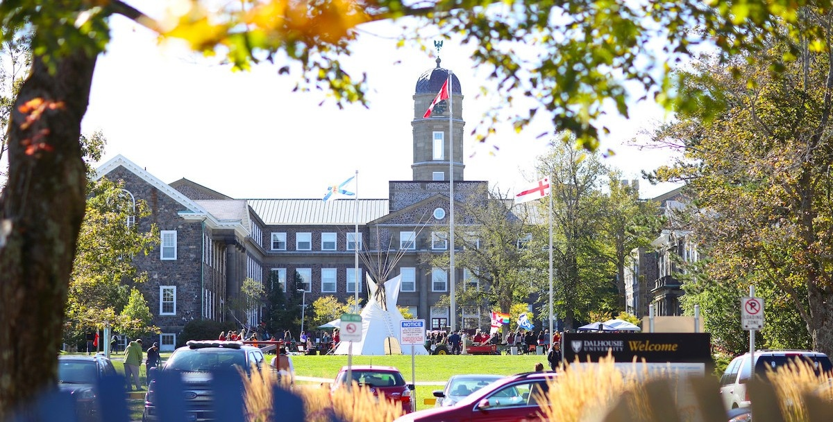 Henry Hicks Building in the background, with Dalhousie's annual Mawio'mi taking place in the Quad