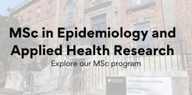 MSc in Epidemiology and Applied Health Research text over a photo of a building