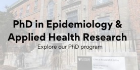PhD in Epidemiology & Applied Health Research text over the photo of a building
