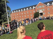 Student gathered around the residence halls