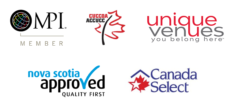 Logos for MPI, CUCCOA, Unique Venues, Nova Scotia Approved and Canada Select