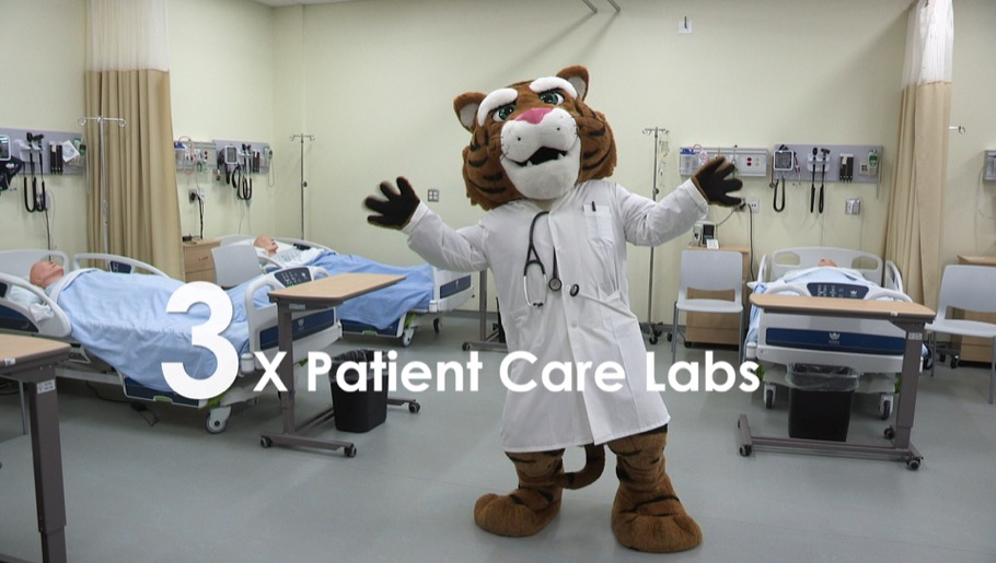 Tiger mascot in a patient care lab