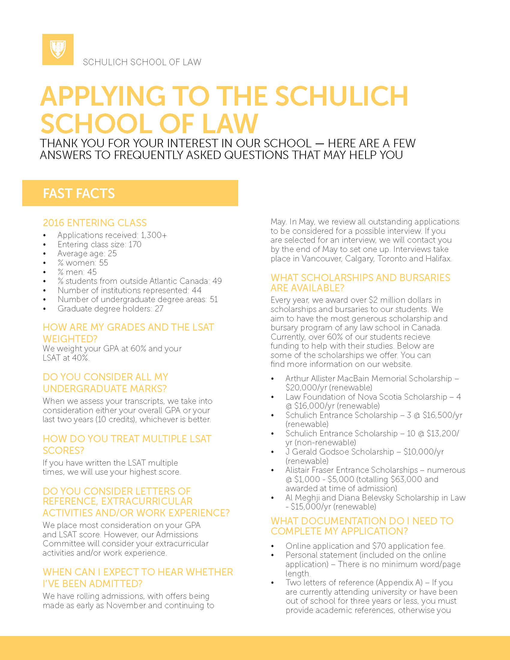Admission Requirements Schulich School Of Law Dalhousie University