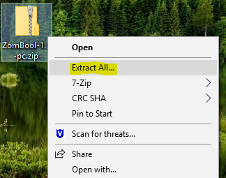 Extract All menu option after right clicking in Windows on the PC zipped file