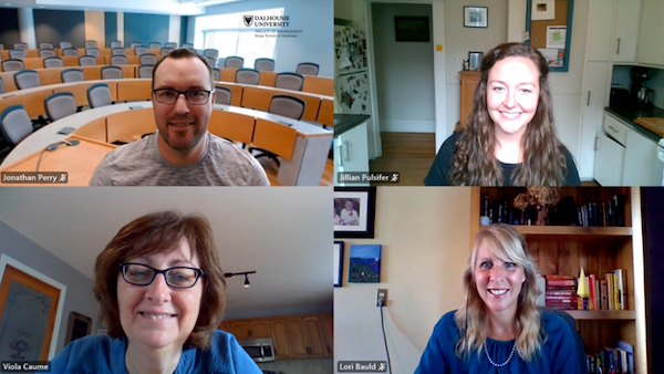A screenshot of a video call with the four award recipients.
