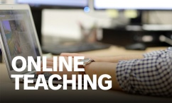 Image of person typing on laptop. Link leads to Dalhousie's online teaching website