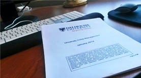 University crisis management plan on a desk