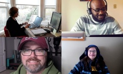 Image of four of Dalhousie's instructional technologists providing Brightspace support from their homes. Links to virtual support room in Bb Collaborate.