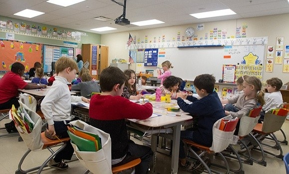 A classroom full students at desks