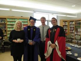 John between Drs Diamond (left) and Mitchell (graduation day)