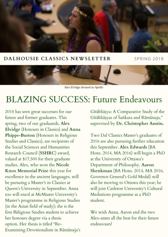 BLAZING SUCCESS: Classics Newsletter Spring 2018