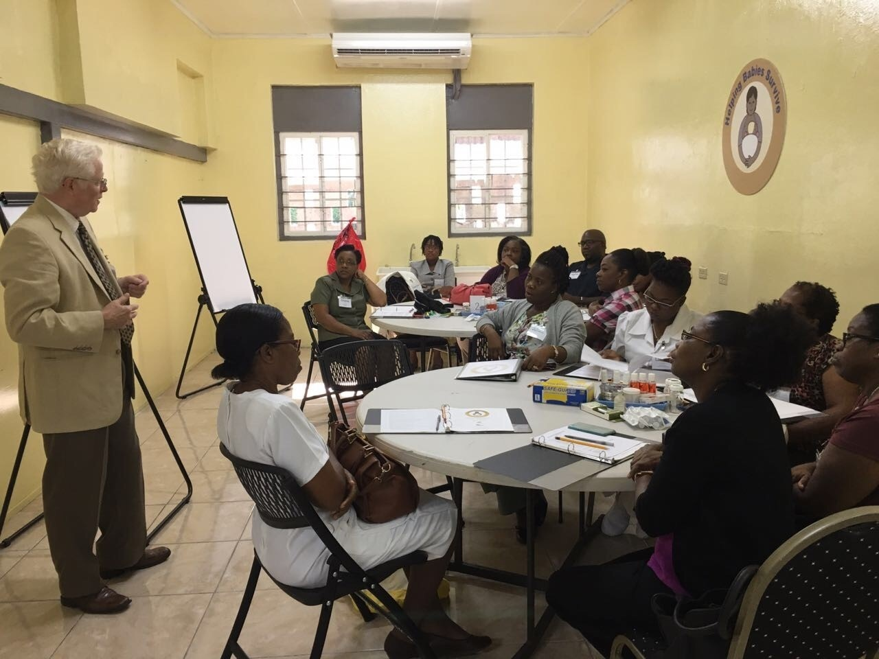 (HBS master trainees with Dr. Doug McMillan; photo taken by Dr. Rudolph Stevens) Caption: HBS session being led by Dr. Doug McMillan, Kingston, Jamaica, May 2017