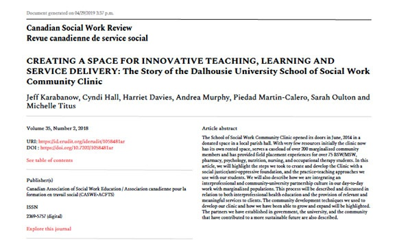 Read the Canadian Social Work Review article about the story of the Dalhousie University School of  Social Work Community Clinic