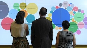 Three management students stand with their backs to the camrera, looking up at a data wall that shows a visualization of data.