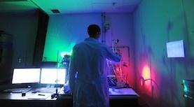 Biophysics researcher in lab