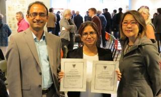 Dr. Ahsan Habib, Shaila Jamal (MPS'16) and Dr. Mikiko Terashima