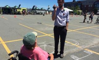 Levi interviews a Bikeweek participant